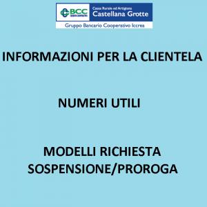 COVID-19 Informativa alla clientela